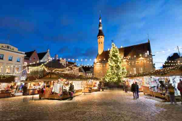 The Christmas market in the Town Hall Square in Tallinn. (Photo by Stuart Black/Getty Images)