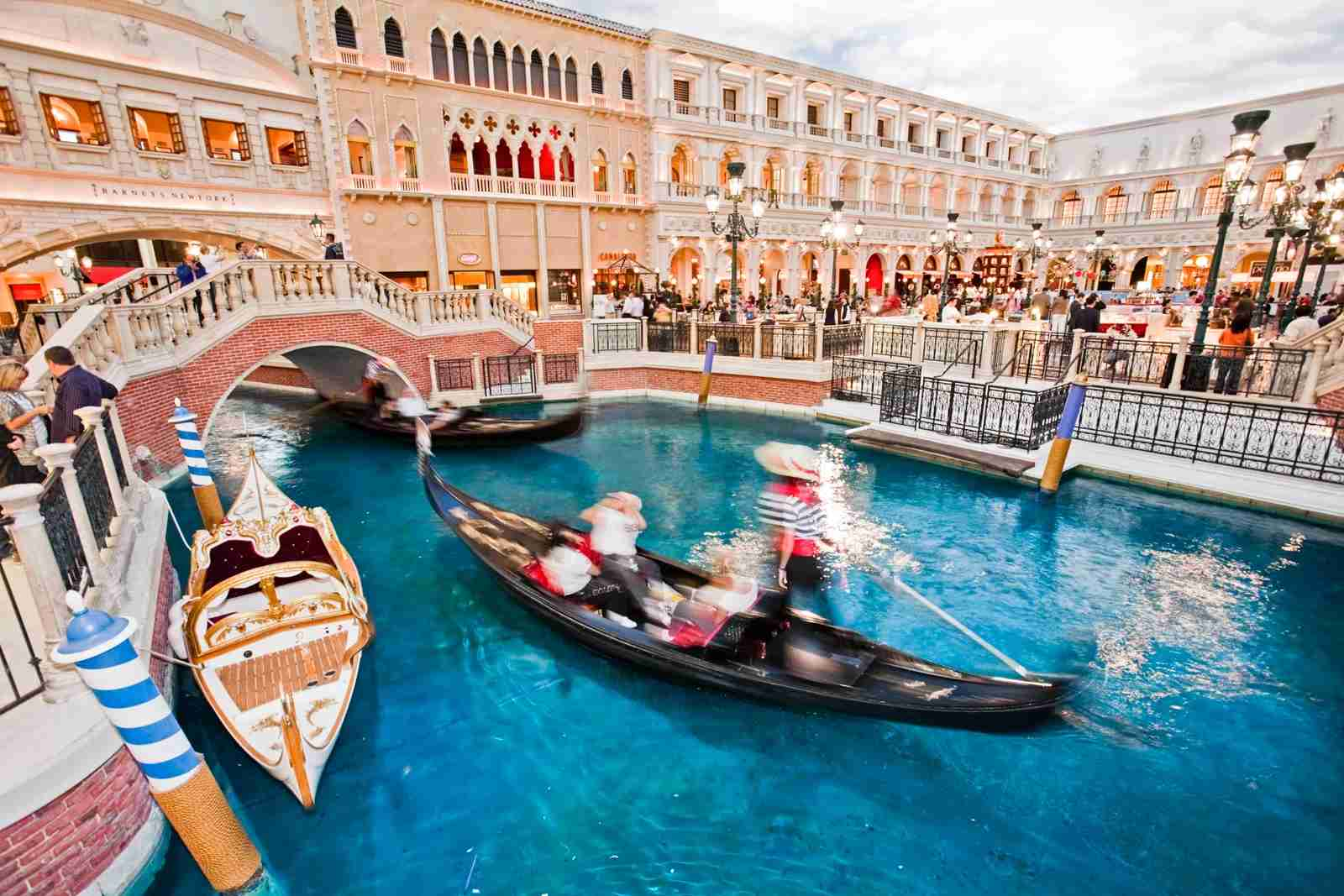Gondola rides at the Venetian Hotel. (Photo by Eddie Brady/Getty Images)