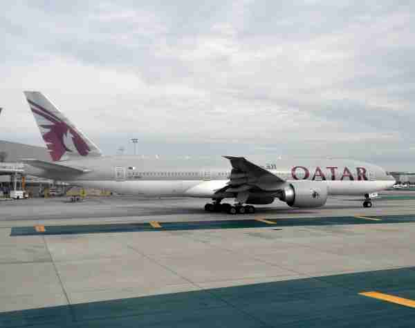 A Qatar Airways Boeing 777-200LR like the one used on the Doha - Sao Paulo - Buenos Aires route (Photo by Alberto Riva/The Points Guy)