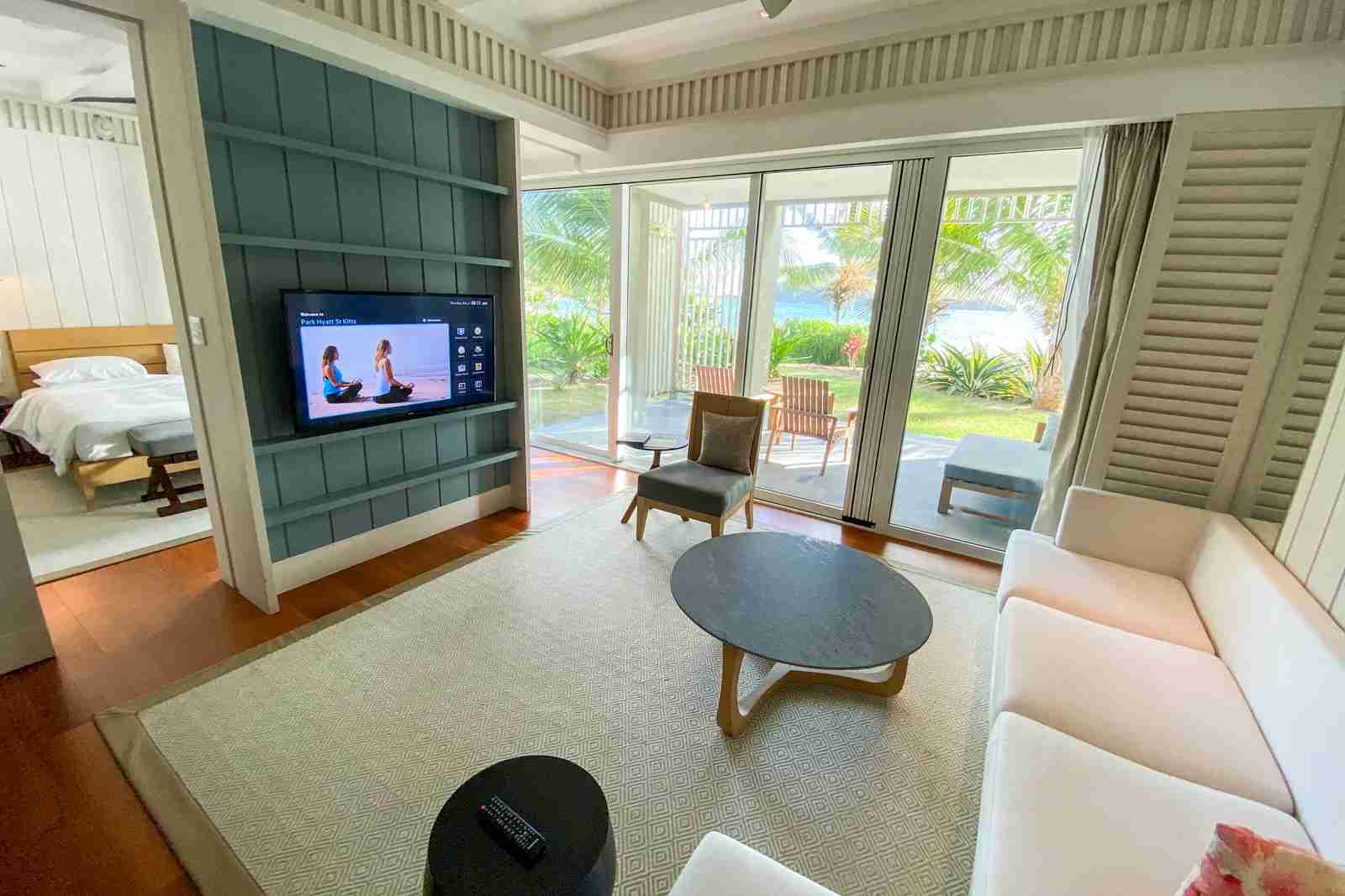 Living room area at Park Hyatt St. Kitts (Photo by Zach Griff/The Points Guy)