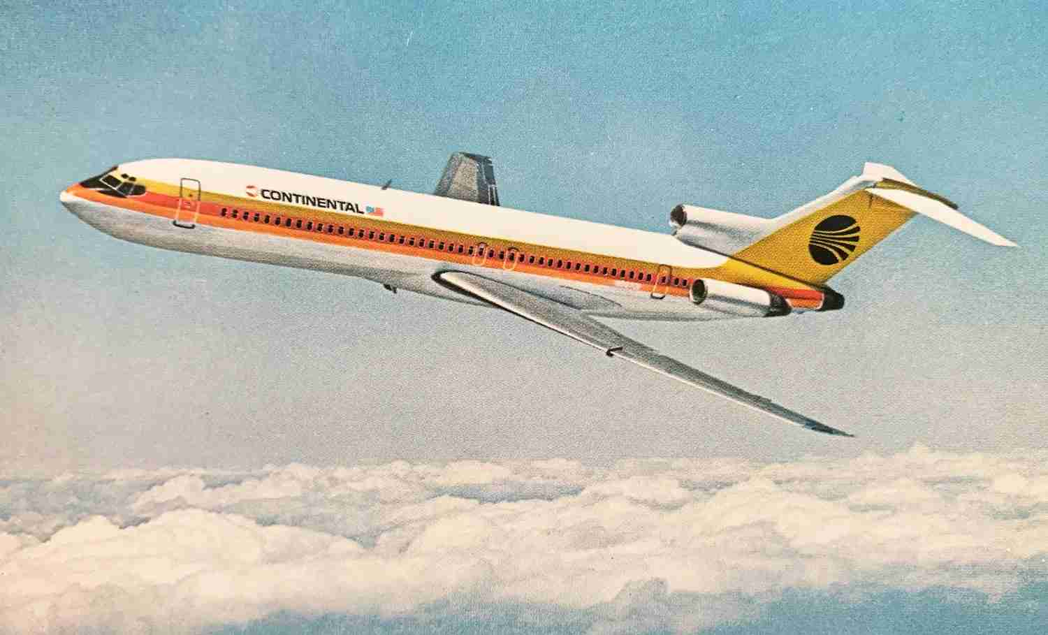A Continental 727 in the '70s-era livery designed by Saul Bass.