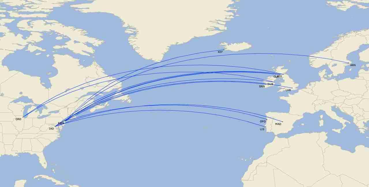United Airlines scheduled transatlantic Boeing 757 routes in June 2020. (Image by Cirium)