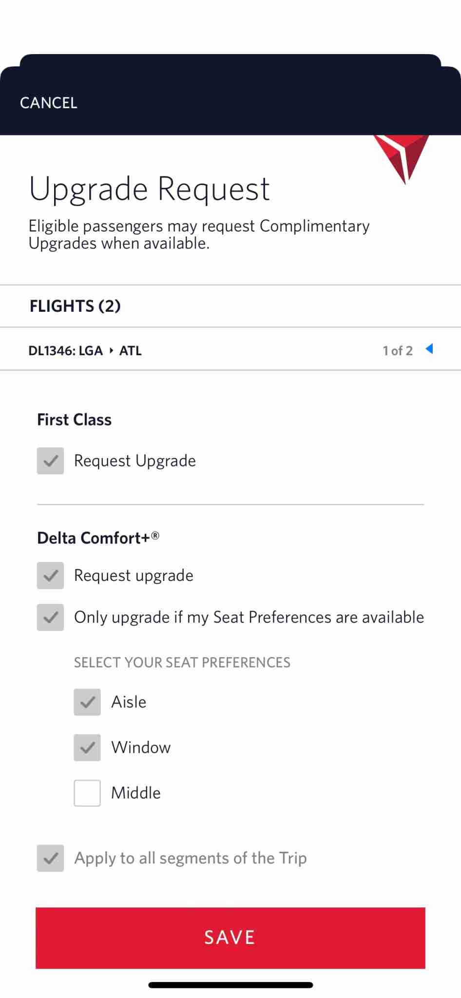 New Delta upgrade options. (Screenshot of the Fly Delta app by Zach Wichter/The Points Guy.)