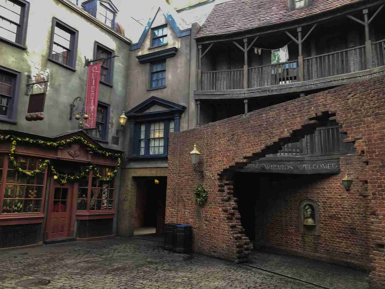 Walk through the opening in this brick wall to enter Diagon Alley. (Photo by Leonard Hospidor.)