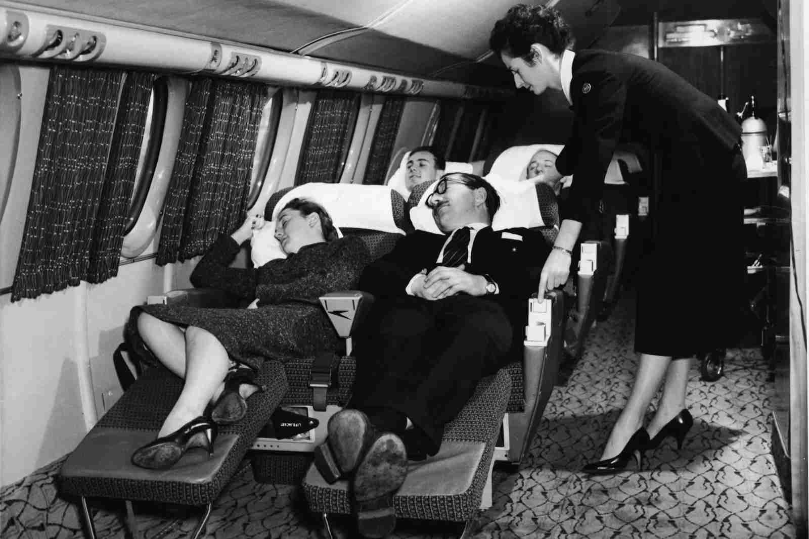 The first class compartment of a commercial passenger plane in the 1950s. (Photo by Authenticated News/Getty Images)