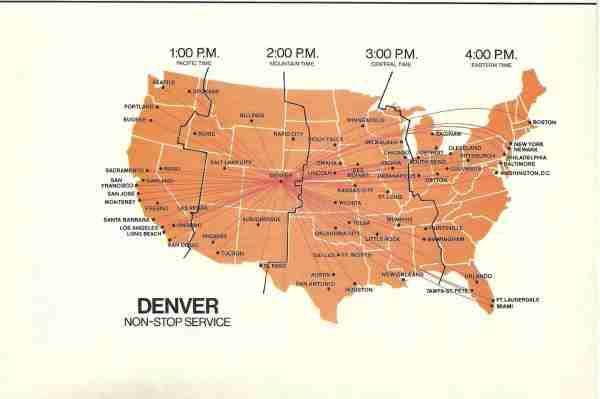 Nonstop routes from United Airlines Denver hub in 1984. (Photo courtesy of Airline Maps)