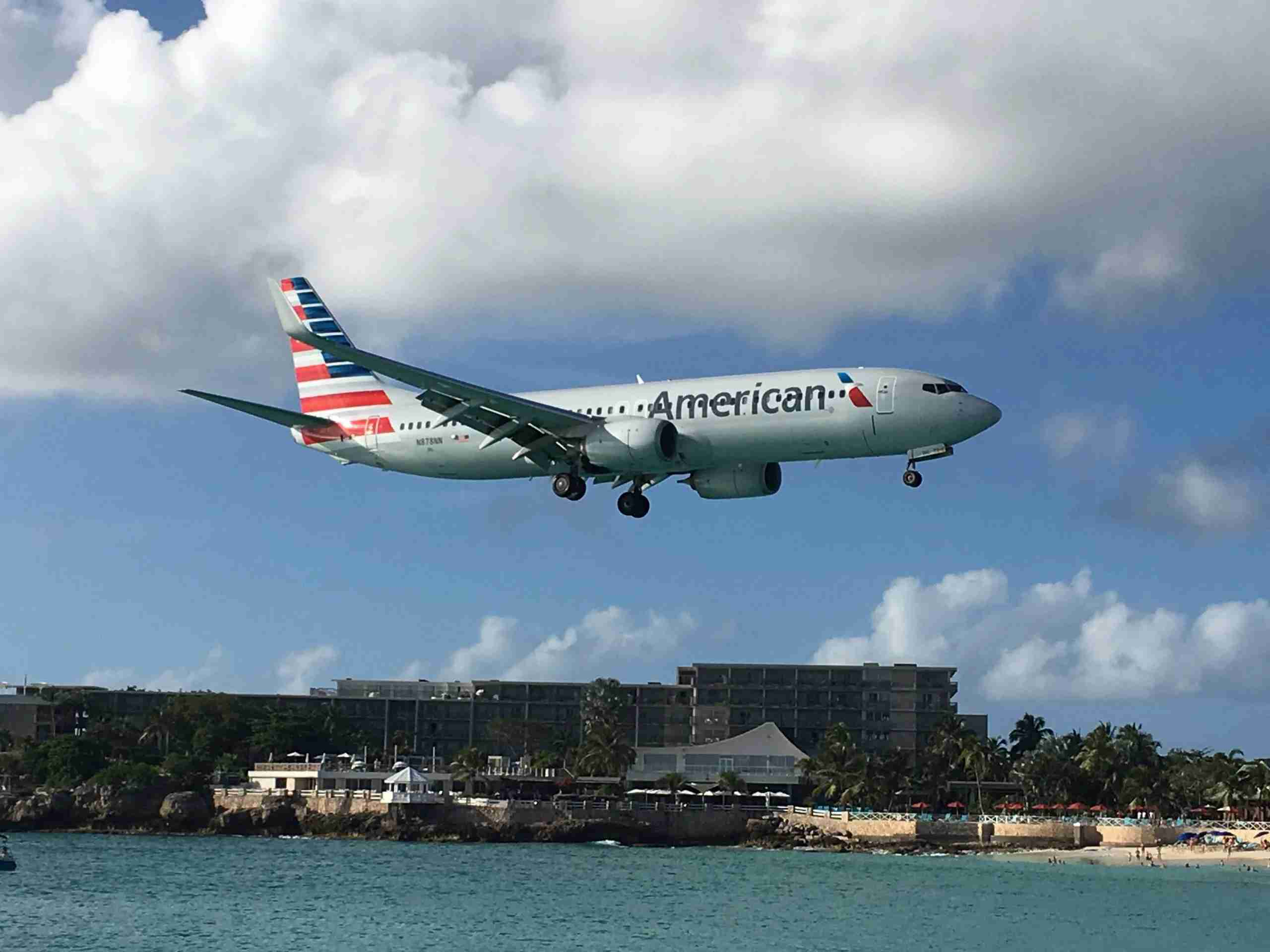American Airlines plane landing at Sint Maarten Airport (SXM) in January of 2017. (Photo by Clint Henderson/The Points Guy)