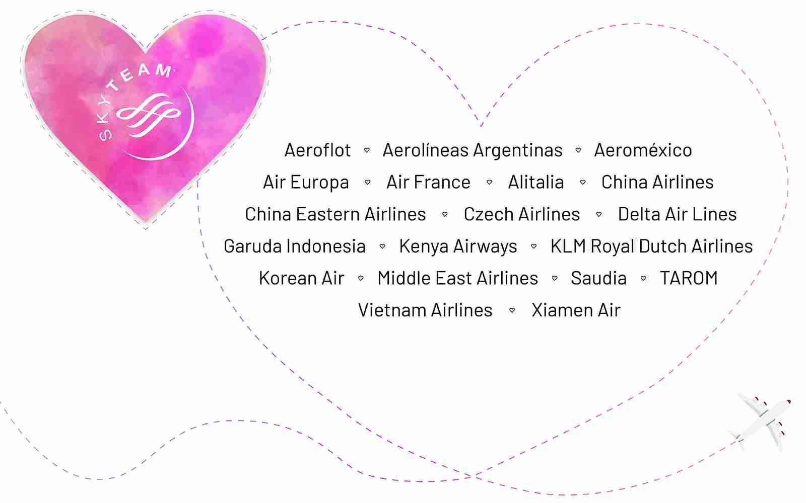 Skyteam Airlines: Aeroflot, Aerolineas Argentinas, Aeromexico, Air Europa, Air France, Alitalia, China Airlines, China Eastern Airlines, Czech Airlines, Delta Air Lines, Garuda Indonesia, Kenya Airways, KLM Royal Dutch Airlines, Korean Air, Middle East Airlines, Saudia, TAROM, Vietnam Airlines, Xiamen Air