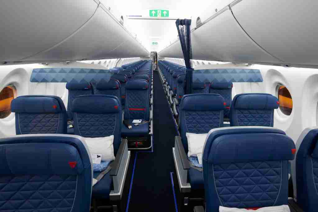 An interior view of the Delta A220. (Photo by Cooper Neill/Getty Images)