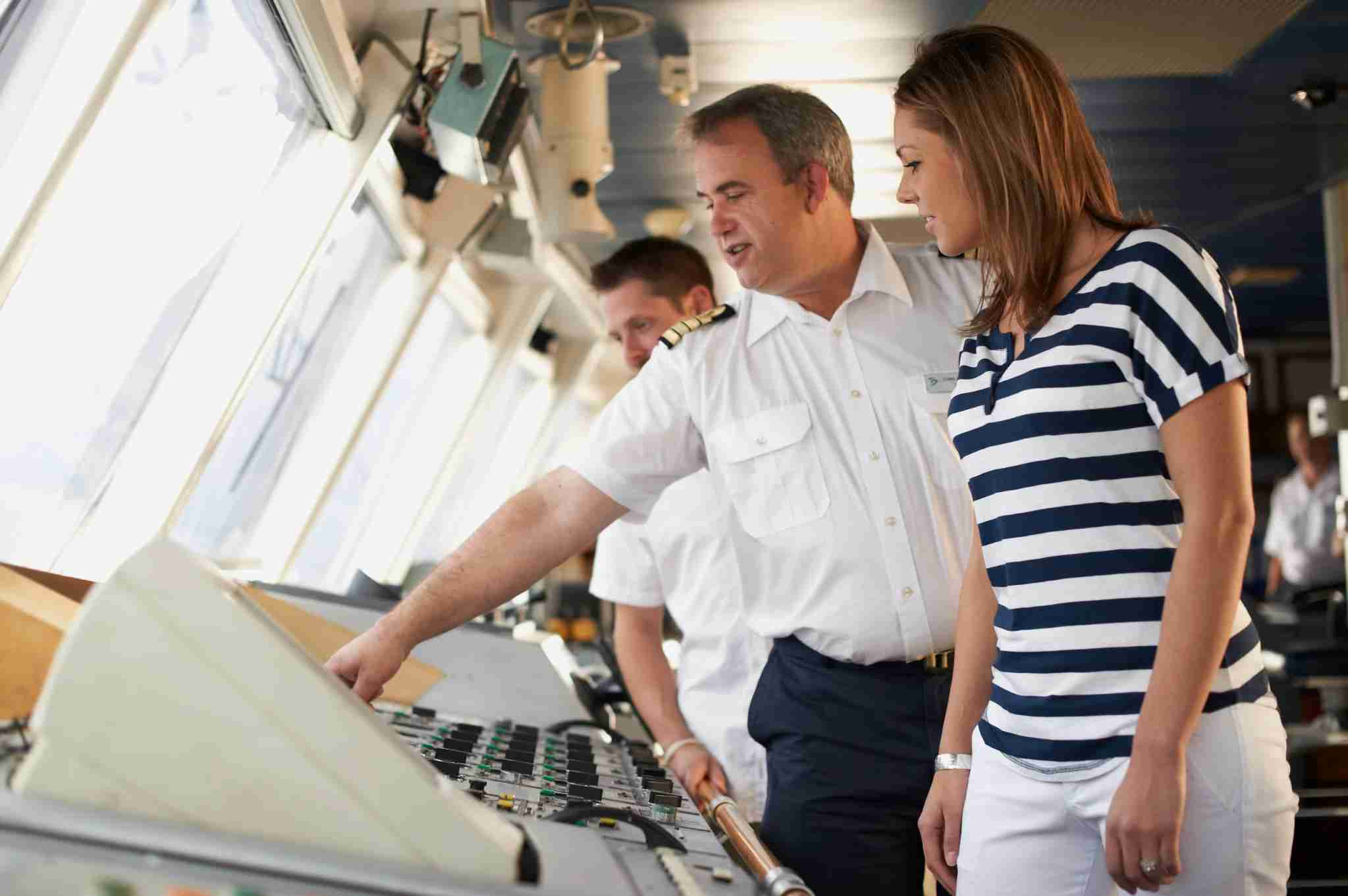 """Windstar Cruises ships have an """"open bridge"""" policy that allows for passenger visits. Photo courtesy of Windstar Cruises."""