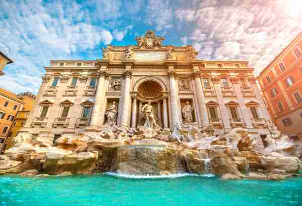 Famous iconic Trevi Fountain at Piazza Di Trevi. Courtesy of hocus-focus/Getty Images.