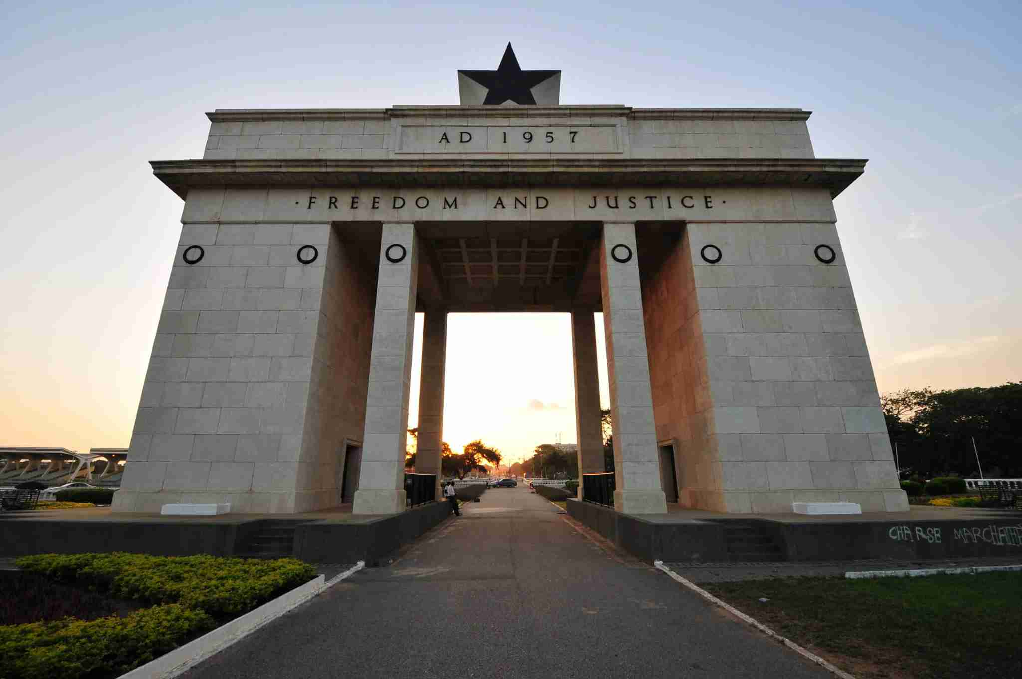 "The Independence Square of Accra, Ghana, inscribed with the words ""Freedom and Justice, AD 1957"", commemorates the independence of Ghana, a first for Sub Saharan Africa. It contains monuments to Ghana"