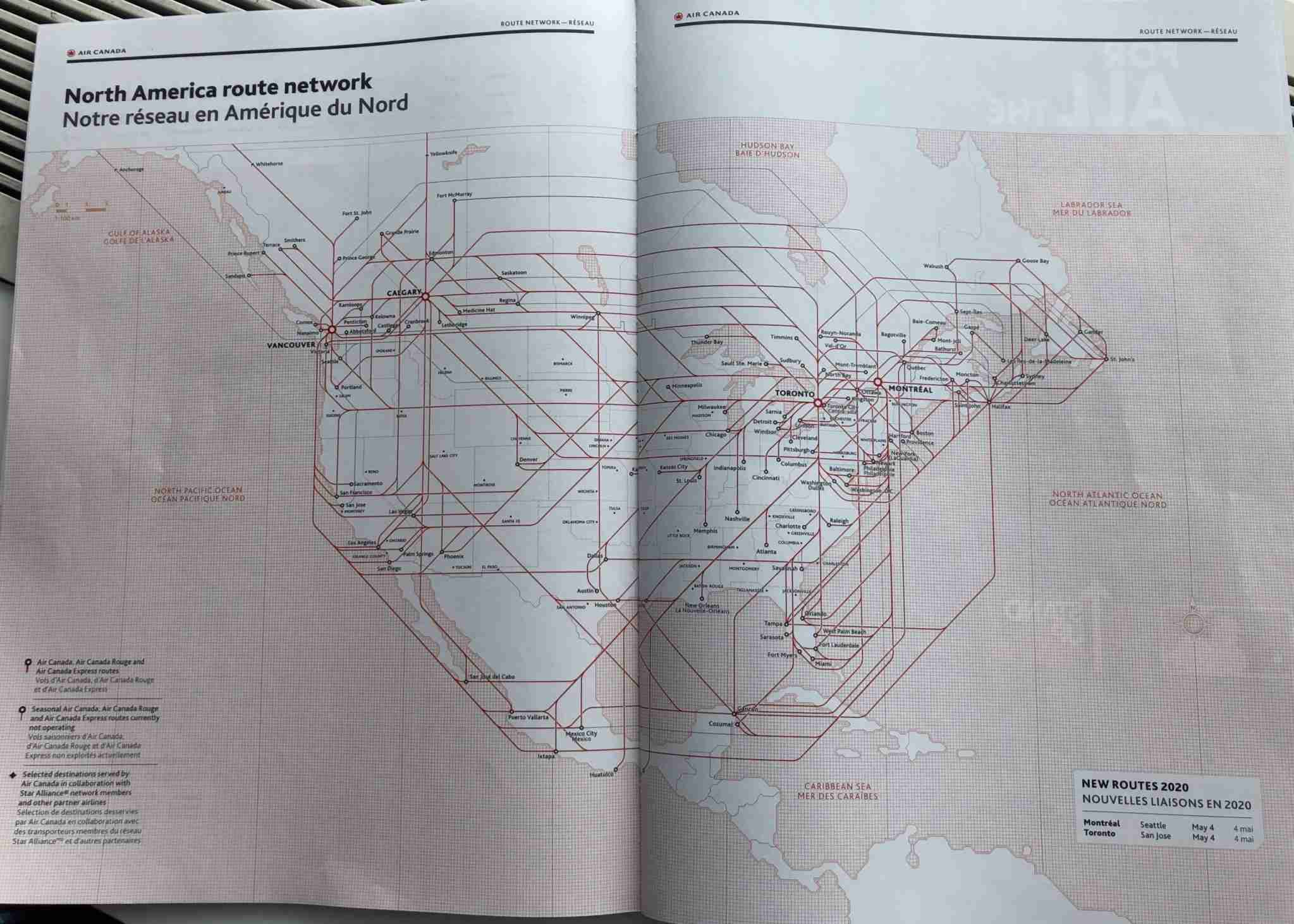 Air Canada North America route map, January 2020. (Photo by Edward Russell/TPG)