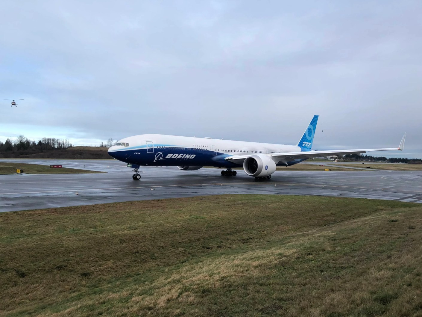 Boeing's 777-9 taxiing before its first takeoff. (Photo by Zach Wichter/The Points Guy.)