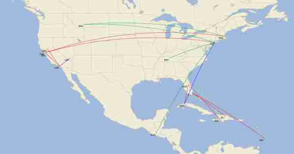 JetBlue is ending (red), reducing (blue) and adding (green) a number of routes this spring. (Image by Cirium)