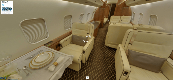 Inside the MNG Jet Bombardier Global Express (Screen grab from MNG Jet virtual cabin tour)