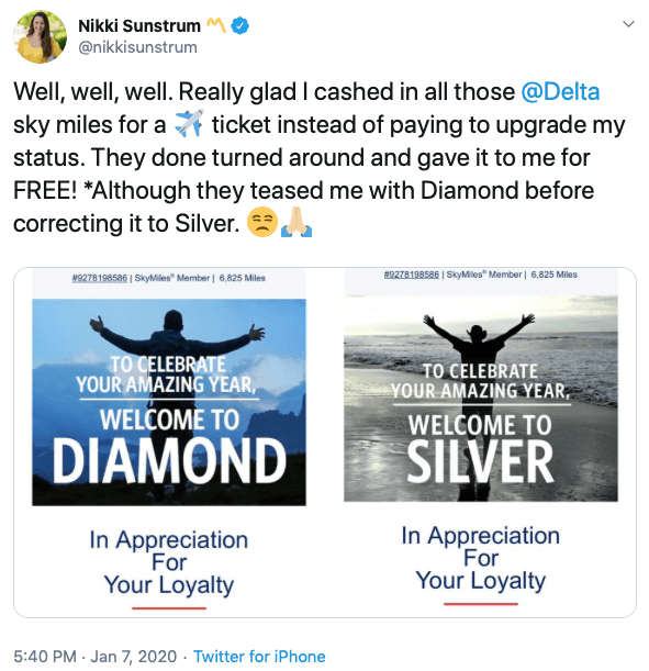 """Nikki Sunstrom tweets about being """"accidentally """" given Delta Diamond status. Image courtesy Twitter."""
