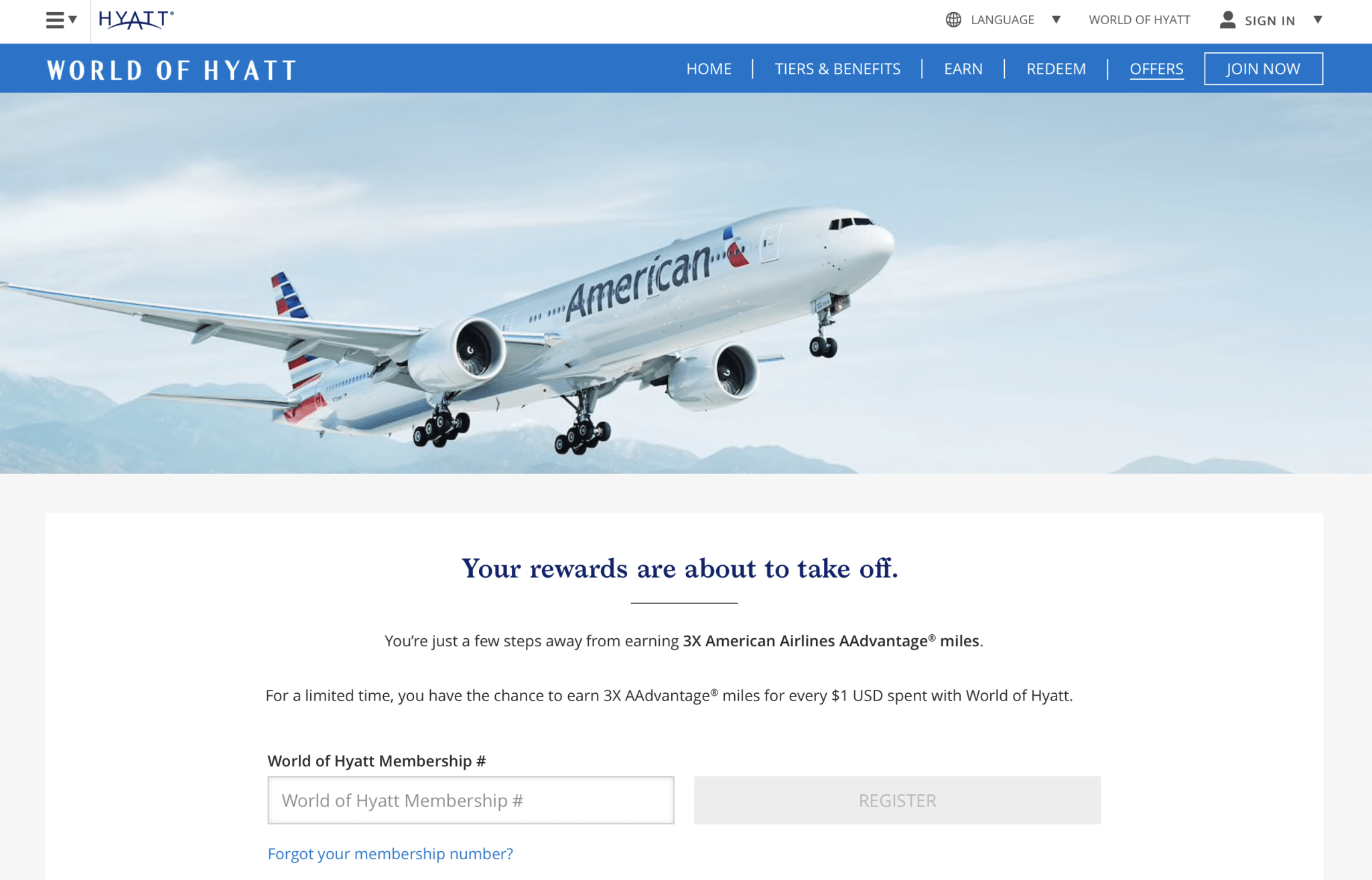 Landing page for Hyatt 3X AA miles. (Image courtesy of Hyatt)