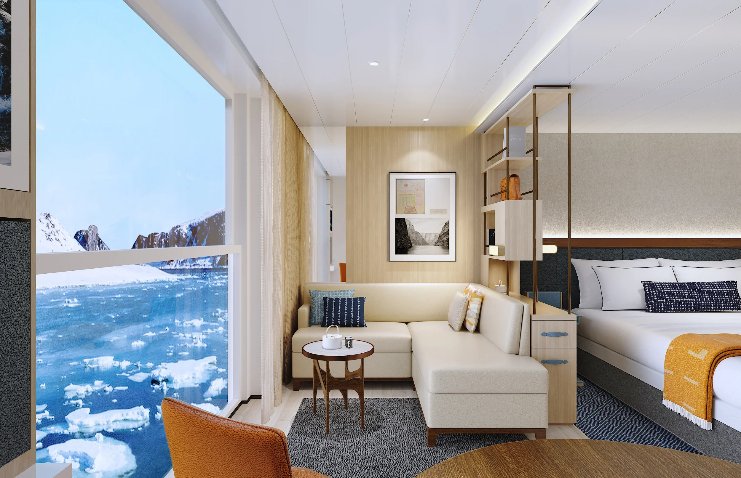 Viking's new expedition ships will have six categories of cabins including 322-square-foot junior suites (shown here). Image courtesy of Viking.