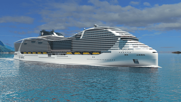 At 205,700 tons, the new World Class ships on order for MSC Cruises will be among the biggest cruise vessels ever built. Image courtesy of MSC Cruises.