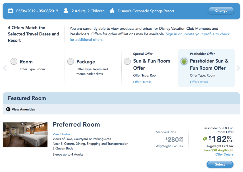 Disney hotel discount with annual pass