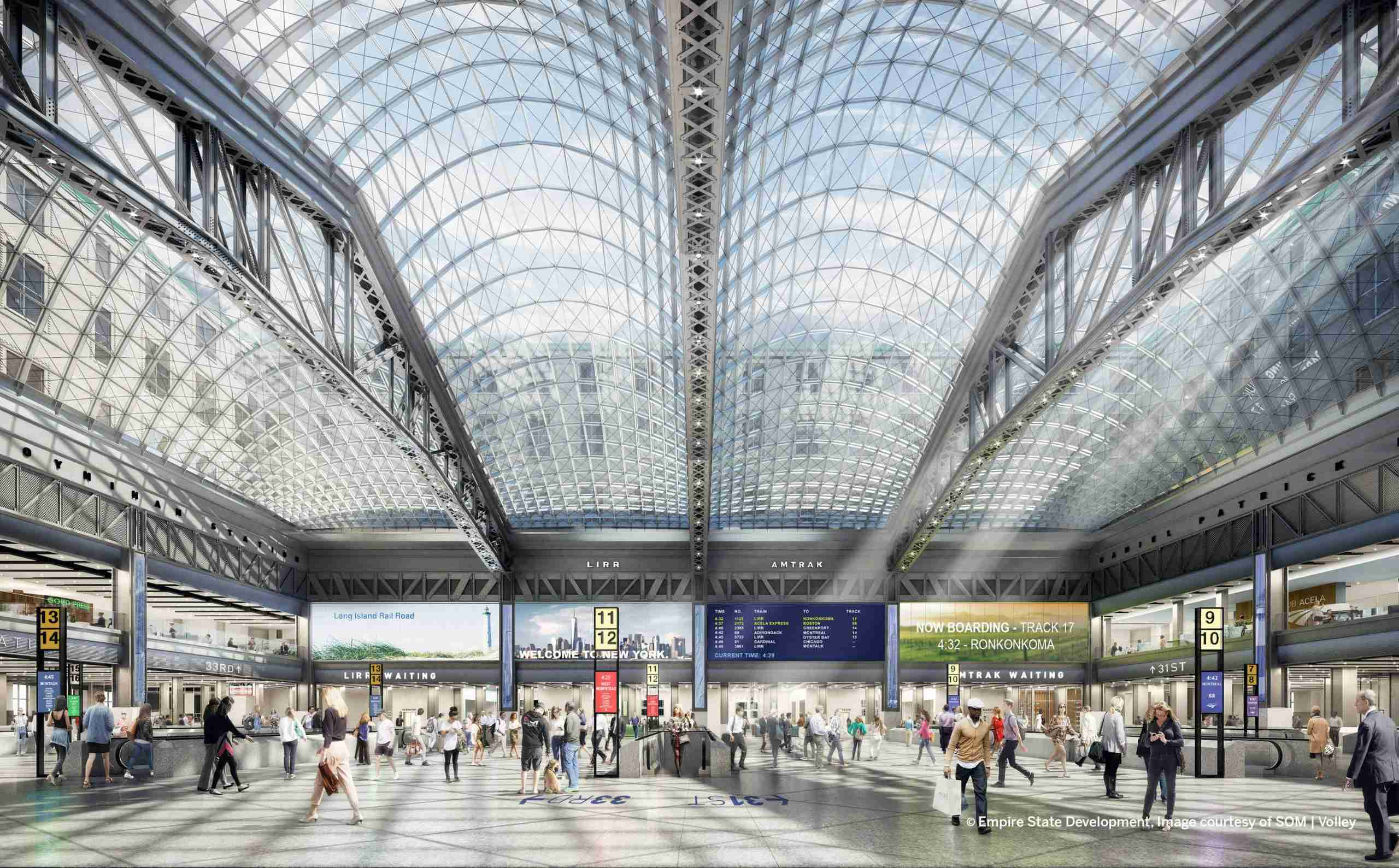 A preview of the new Moynihan Train Hall. (Photo by Architecture and Interiors: FXCollaborative)