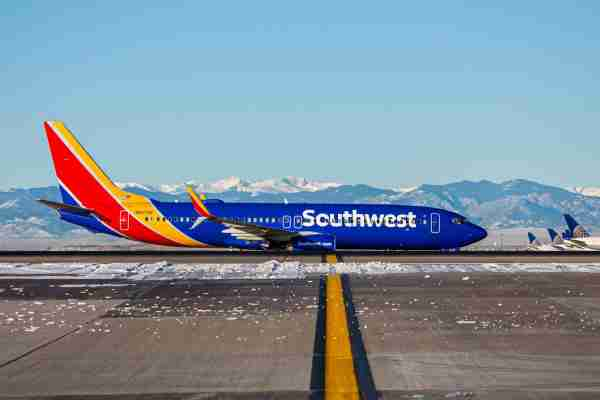 A Southwest Airlines Boeing 737-800 taxis at Denver International Airport. (Photo courtesy of Denver International Airport)