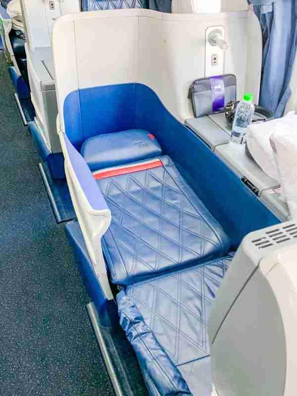 Lie-flat seat on the Delta 767-300ER.