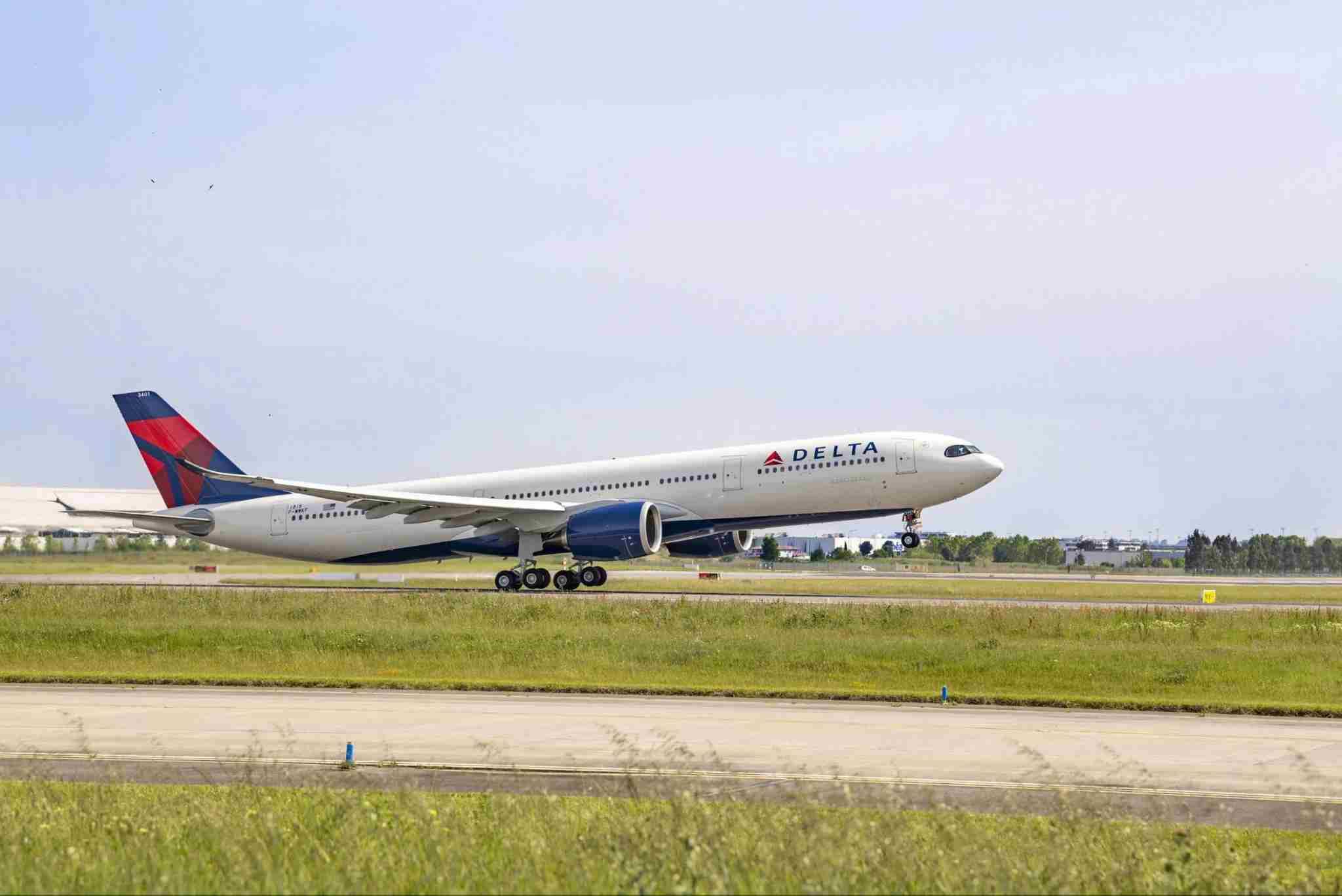 A Delta A330-900 takes off. (Photo courtesy of Airbus)