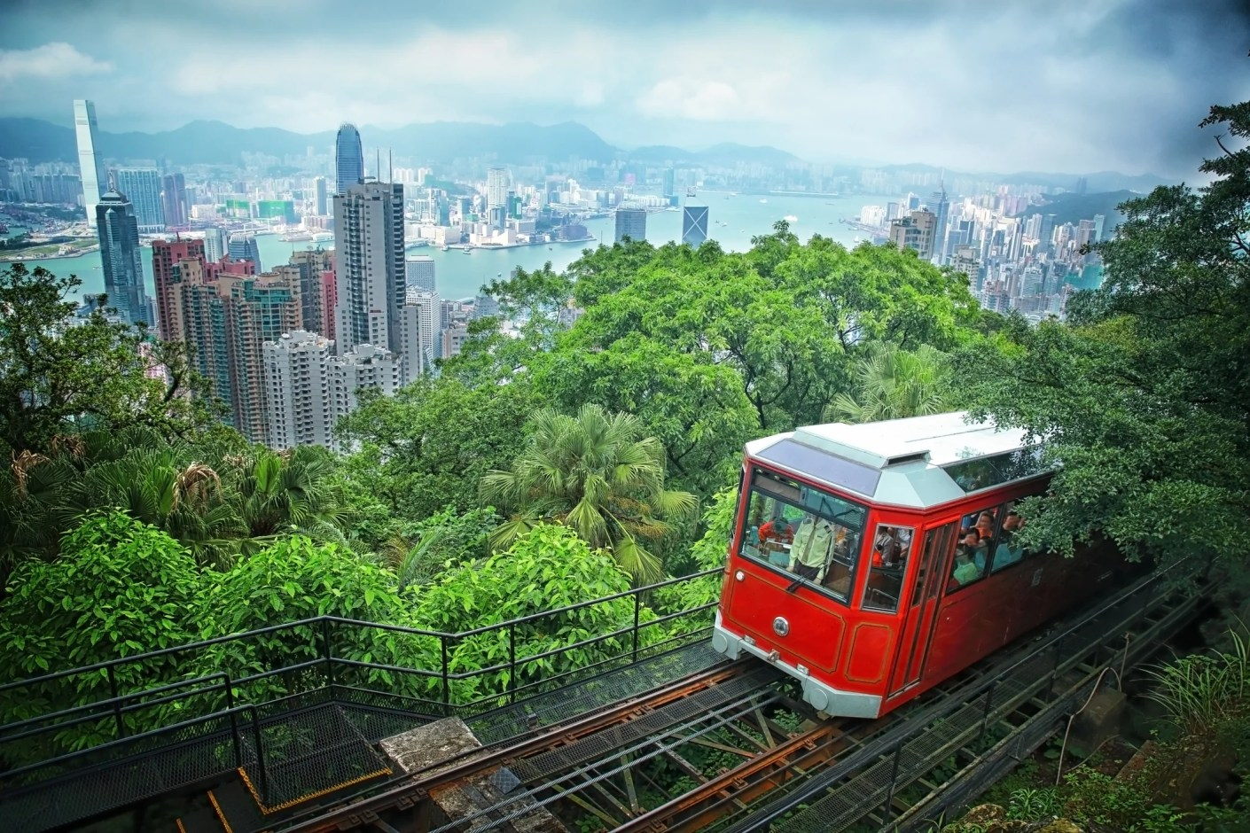 Looking down on Hong Kong from the Peak Tram. (Photo by phaitoons / Getty Images)