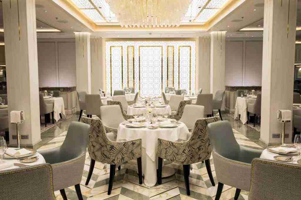 The Compass Rose restaurant on Seven Seas Splendor. (Photo courtesy of Regent Seven Seas Cruises)