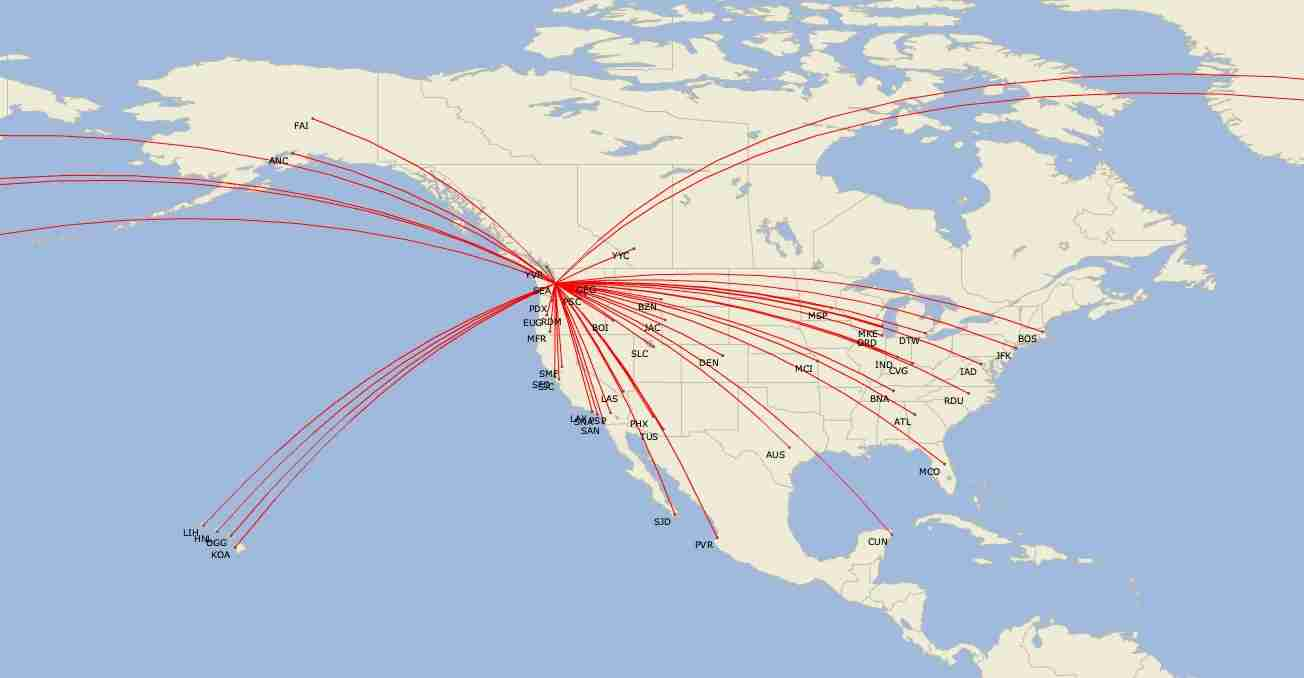 Delta routes from Seattle in February 2020. (Image by Cirium)