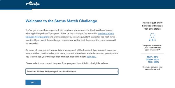 Alaska Status Match Challenge page.