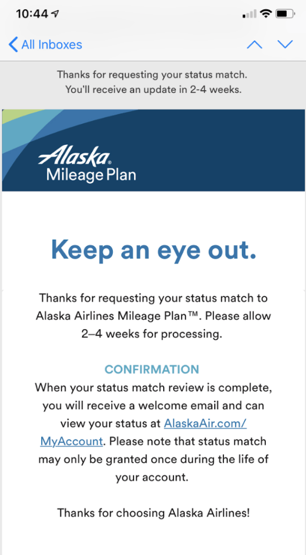Alaska Mileage Plan confirmation of enrollment in Status Match program.