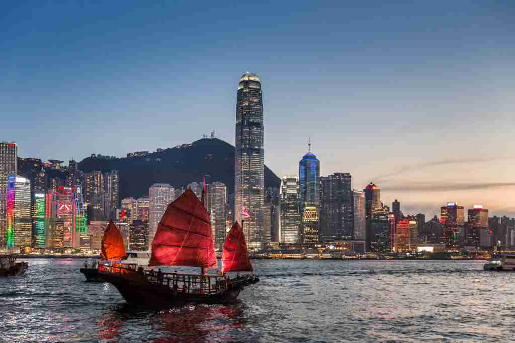 Chinese junk in Victoria Harbour Hong Kong