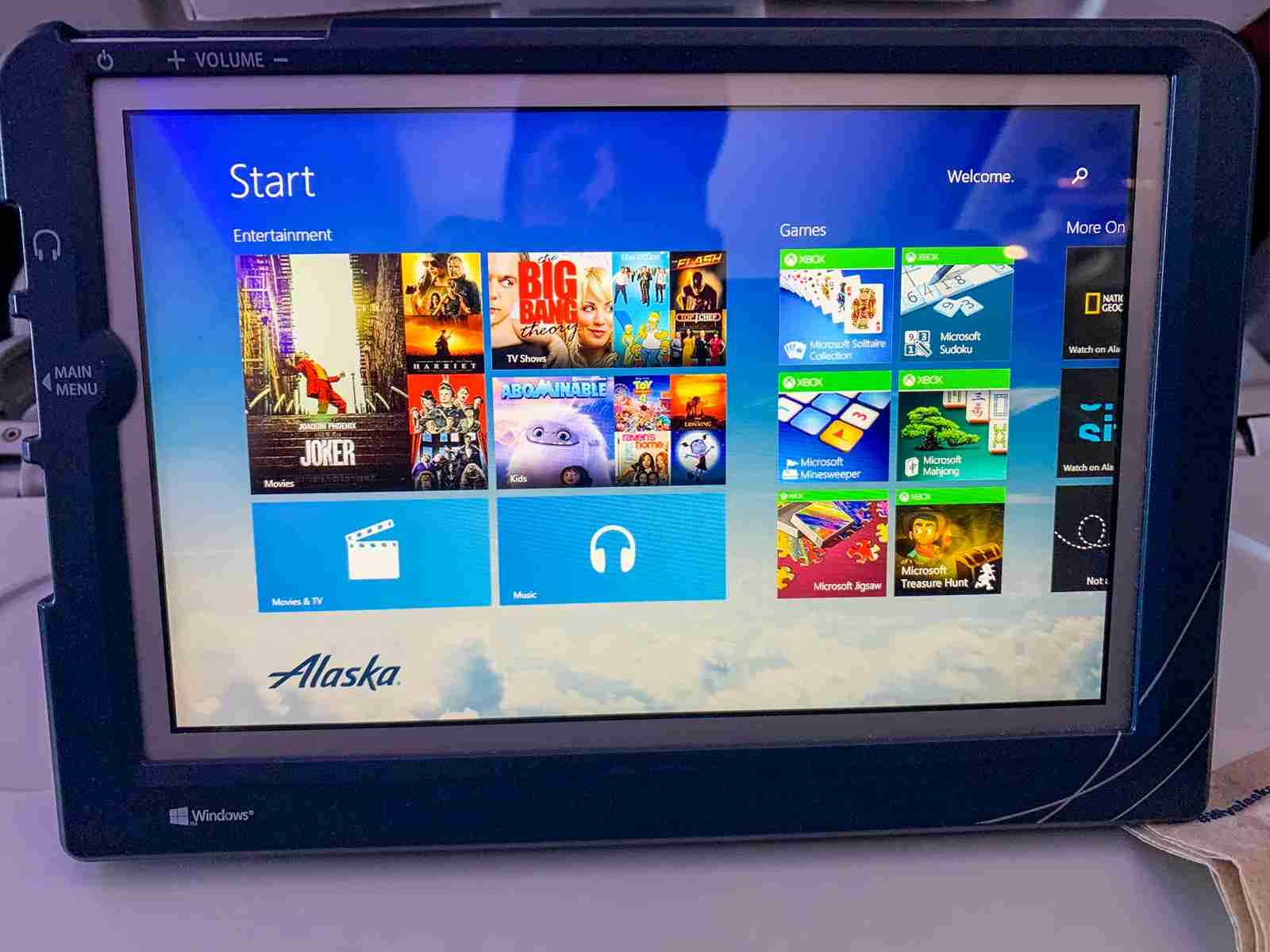 IFE tablet on Alaska Airlines. (Photo by Clint Henderson/The Points Guy)