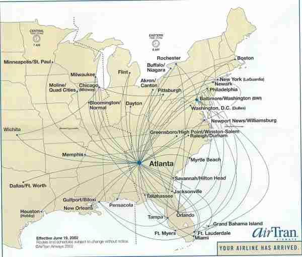 AirTran cut frequencies but not destinations from its route map, here in June 2002, after 9/11. (Image by Edward Russell/TPG)
