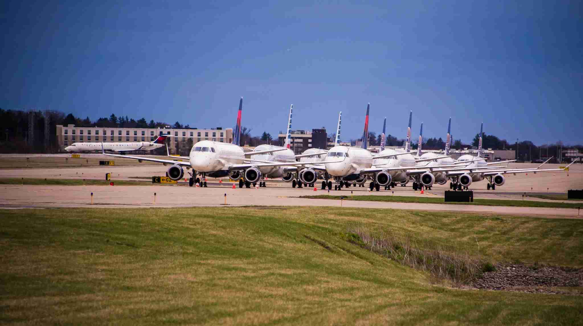 American, Delta and United regional jets temporarily parked at the Pittsburgh airport. (Photo courtesy of Pittsburgh International Airport)