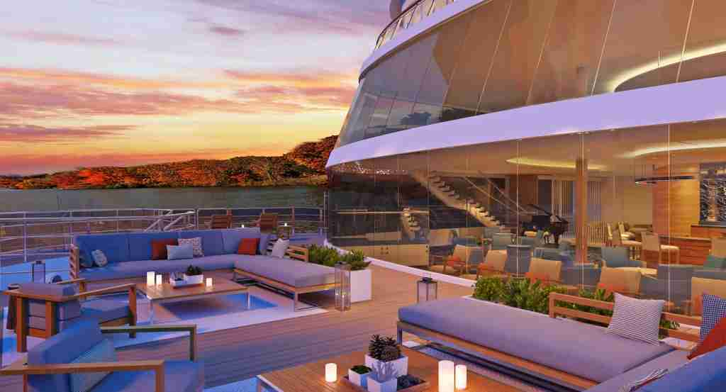 Rendering of the Viking Mississippi - Seating area on the Bow in front of the Explorer