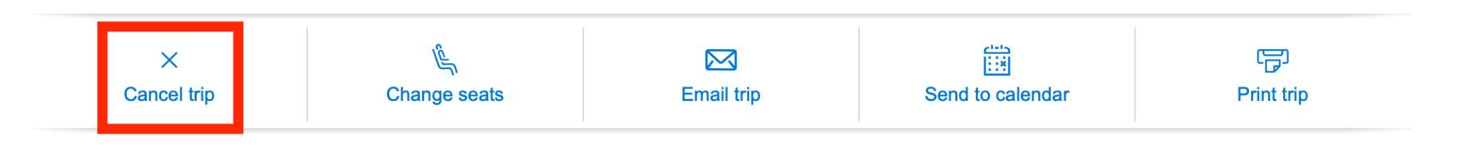 Cancel trip button screenshot on AA.com