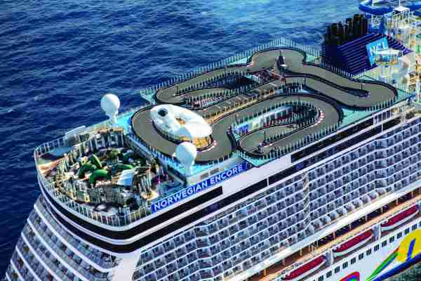 The top deck of Norwegian Encore includes a sprawling go-kart track and a outdoor laser tag area. (Photo courtesy of Norwegian Cruise Line).