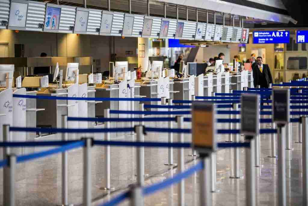FRANKFURT AM MAIN, GERMANY - MARCH 12: Closed counters pictured at Frankfurt Airport on March 12, 2020 in Frankfurt, Germany. U.S. President Donald Trump has announced he is imposing a ban on most travellers from continental Europe entering the U.S in an effort to stop the spread of the coronavirus. U.S. citizens and their families will still be allowed to travel and the measure is not supposed to affect international trade. Europe currently has approximately 25,000 confirmed cases of the coronavirus, with approximately half of those in Italy. (Photo by Thomas Lohnes/Getty Images)