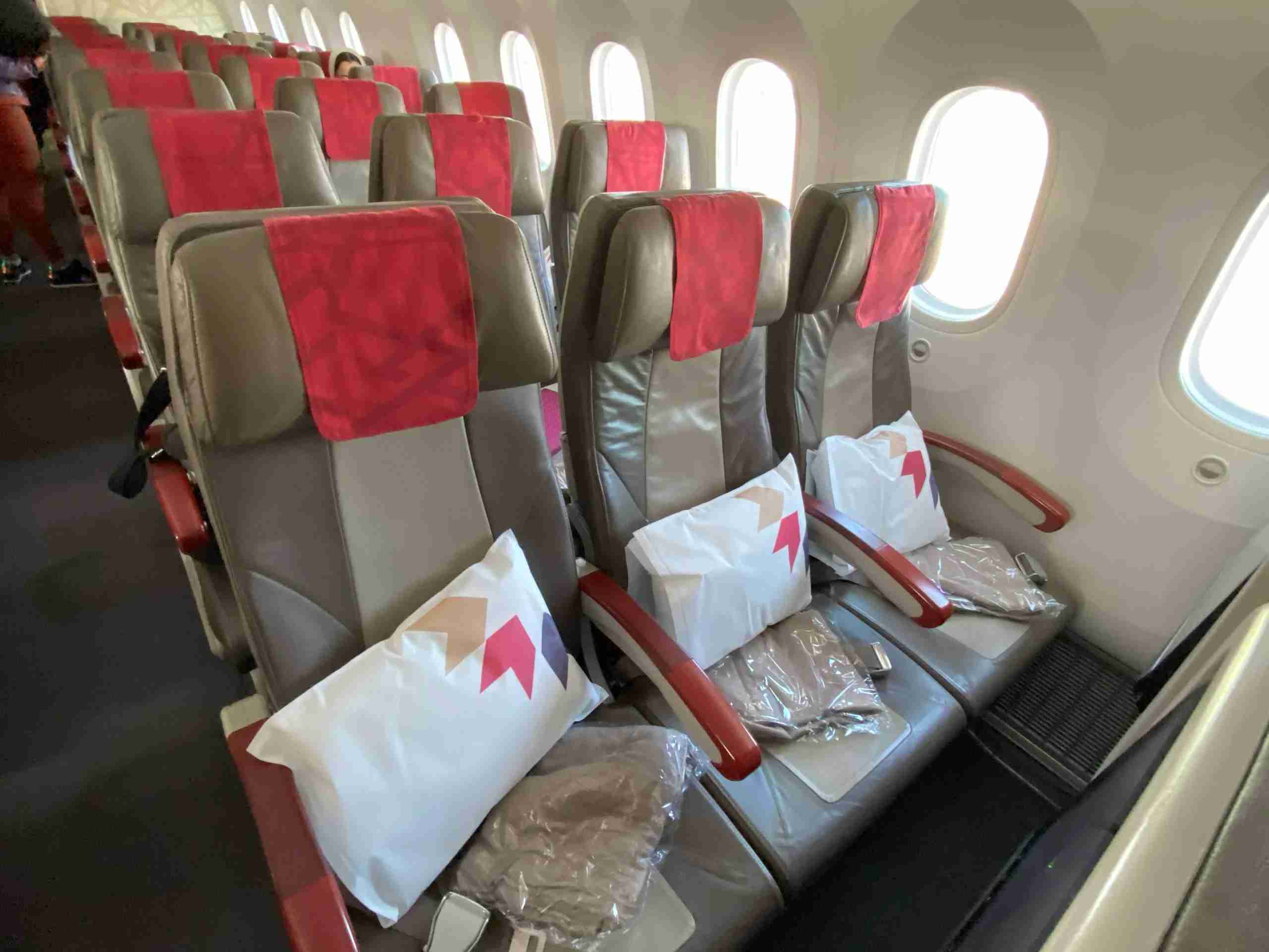 Economy class seats on Royal Air Maroc