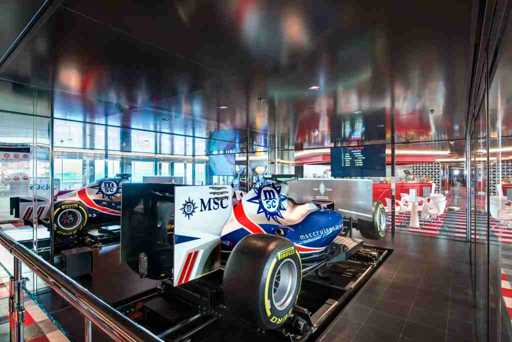 Two full-size Formula 1 racing simulators are among the attractions on MSC Meraviglia. (Photo courtesy of MSC Cruises).
