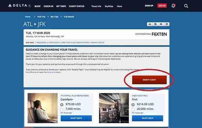 Modify Delta Ticket Online
