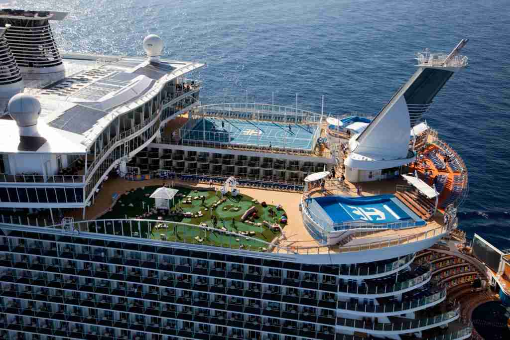 Royal Caribbean's giant Oasis Class vessels feature miniature golf courses, basketball courts and surfing simulators on their top decks, among other amusements. (Photo courtesy of Royal Caribbean).