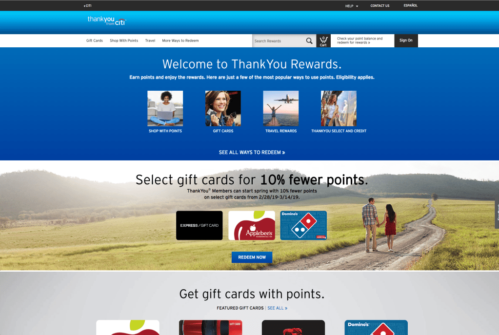 Landing page of ThankYou Rewards.