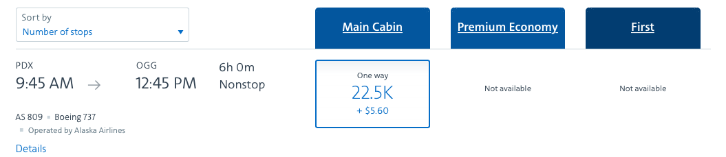 Finding Alaska Airlines award space on the American Airlines