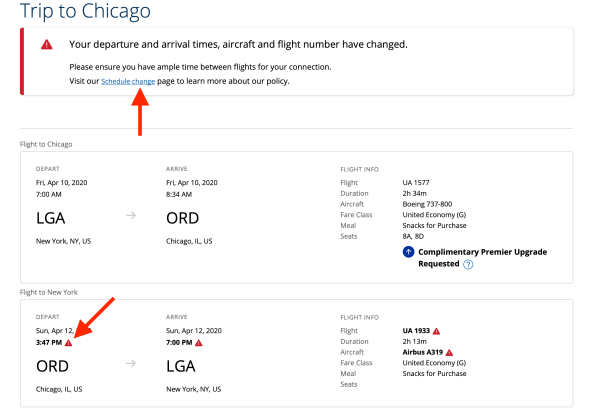 An example of a united schedule change