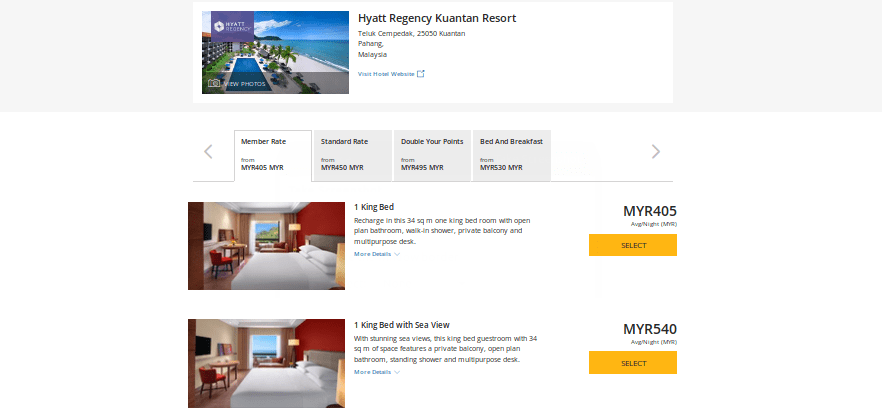 Cash prices for king bed rooms for our stay.